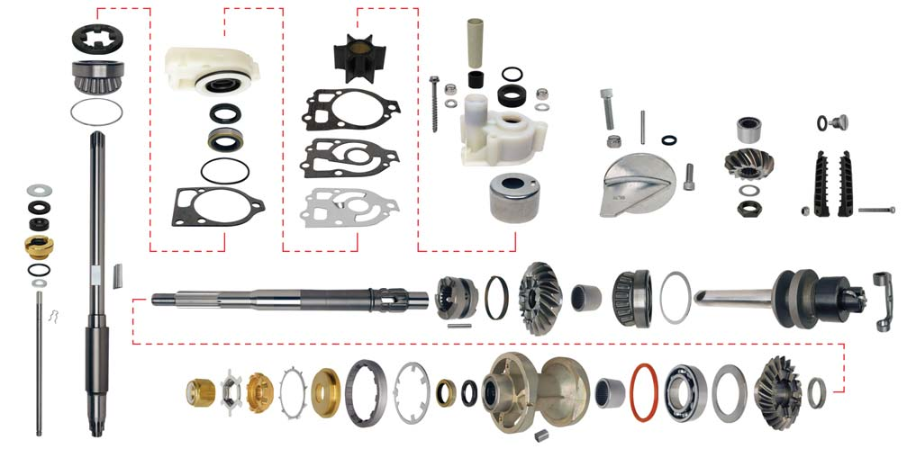 Gear housing rebuild kits mercruiser basic power for Yamaha outboard lower unit rebuild