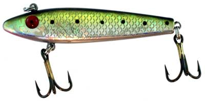 Sinking Hard Bait, Dark Green Back, Silver Scales with Spots, 3.5 Inch