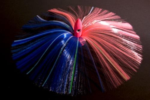 180G Hot Pink Bullet Head with Blue/Pink Hair with Mylar Flash