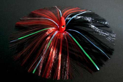 180G Red Bullet Head with Red/Black Hair with Mylar Flash
