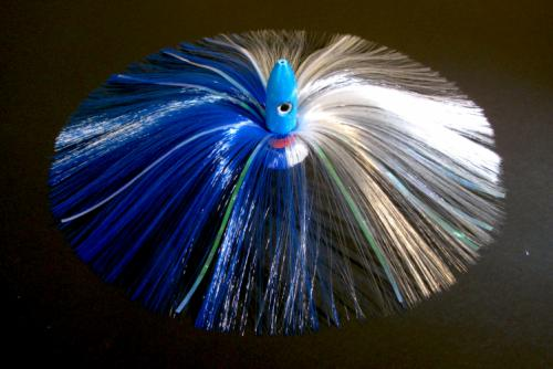 270G Blue Bullet Head with Blue/White Hair with Mylar Flash