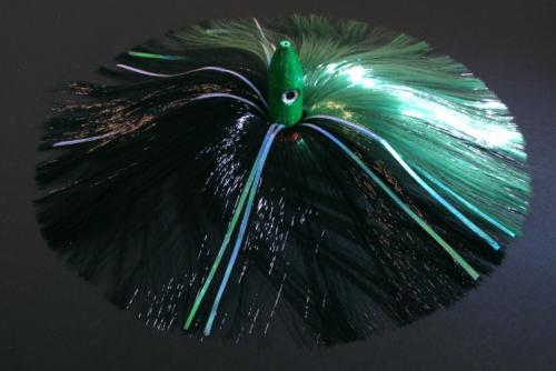 350G Green Bullet Head with Green/Black Hair with Mylar Flash