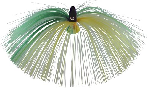 Witch Lure, Black Bullet Head, 60g, with 7 Inch Green, Yellow Hair