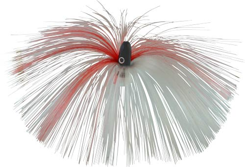 Witch Lure, Black Bullet Head, 60g, with 7 Inch Red, White Hair
