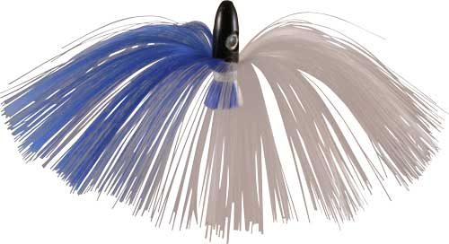Witch Lure, Black Bullet Head, 95g, with 7 Inch Blue, White Hair