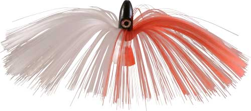 Witch Lure, Black Bullet Head, 95g, with 7 Inch Red, White Hair