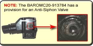 NOTE: The GLM51330 has a provision for an Anti-Siphon Valve