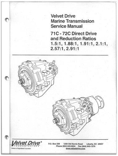 Service Repair Parts Manual Book Inline Velvet Drive Marine Transmission