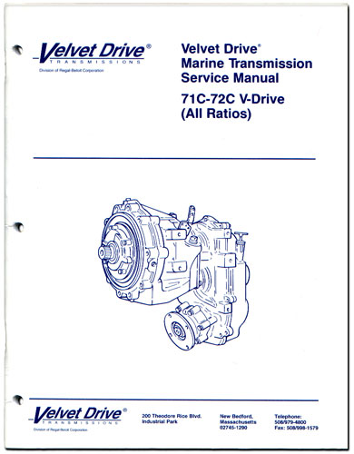 Service Repair Parts Manual Book for Velvet Drive V-Drive Marine Transmission