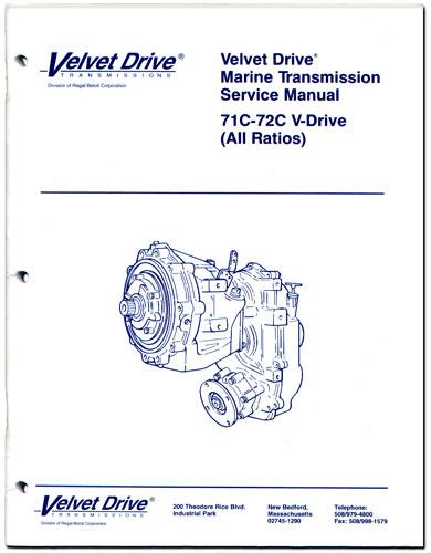 service repair parts manual book for velvet drive v drive marine