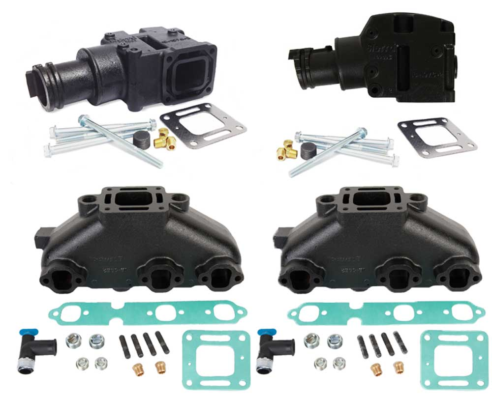 Exhaust Manifold Kit for Mercruiser GM V6 262 4.3L 4 Inch Outlet 1987-2003