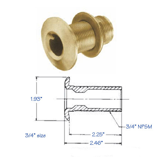 Thru-Hull Fitting Bronze with Flange Nut .75 Inch
