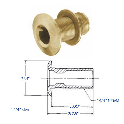 Thru-Hull Fitting Bronze with Flange Nut 1.25 Inch