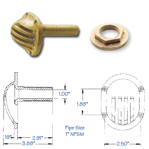 Strainer Intake One Piece Bronze with Flange Nut 1 Inch