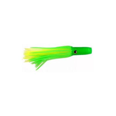 Flat Head Semi-Soft Plastic Trolling Lure 4.5 Inch Green and Yellow 0.5 oz