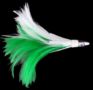 Tuna Feather Green and White Feathers Blunt Lead Head with Red Eyes