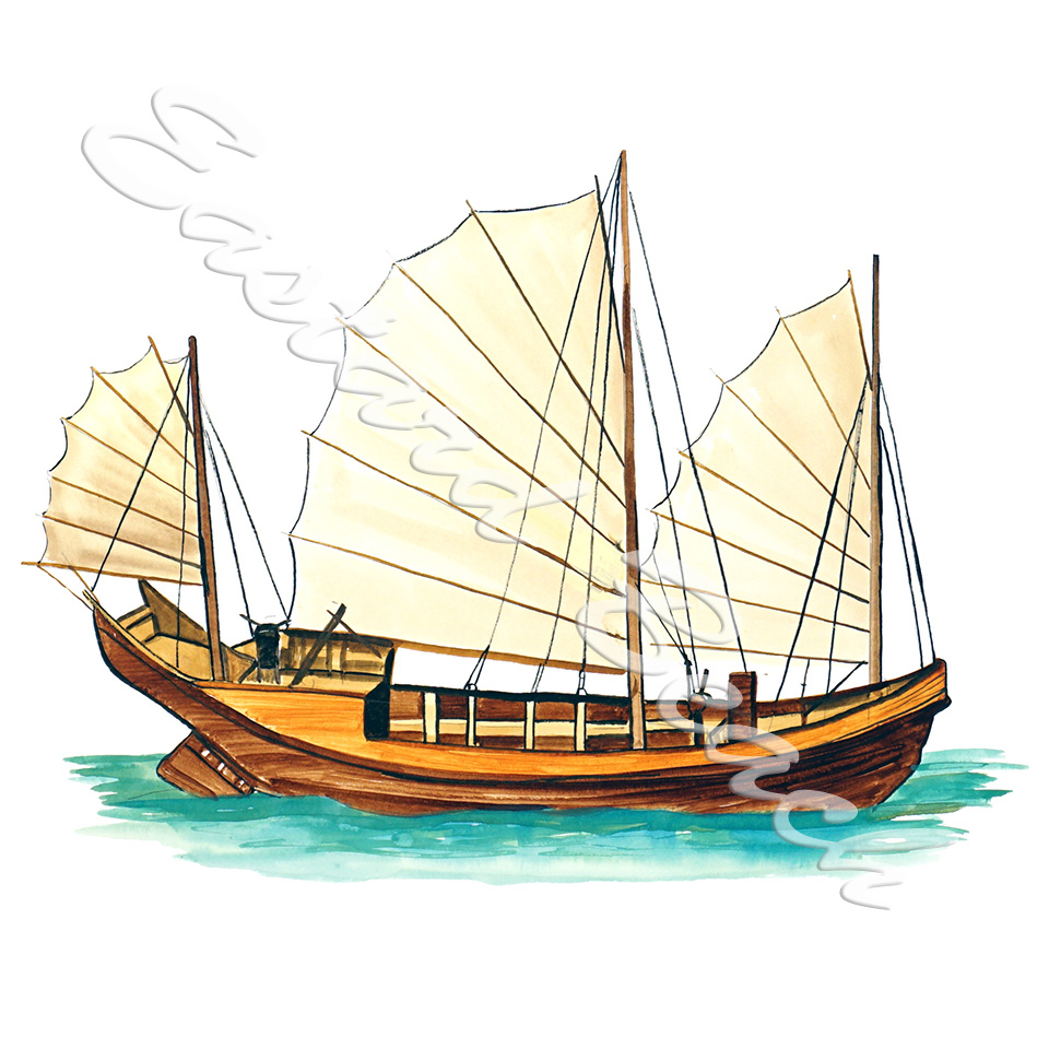 Chinese Junk Ship - 5.045 x 6.872 Inches