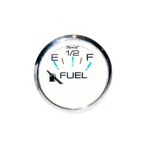 Fuel Gauge OMC E-1/2-F, Chesapeake White Stainless Steel (GP9373) 2 Inch