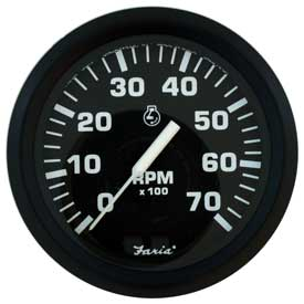 Tachometer 7K Outboard, Euro Black (TC9011) 4 Inch