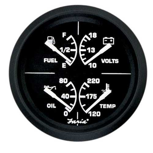 combination gauges marine engine parts fishing tackle basic gauge combination faria marine 4 4 in 1 euro black gf0001