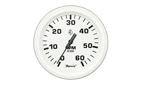 Tachometer 6K Dress White (TC9691) 4 Inch