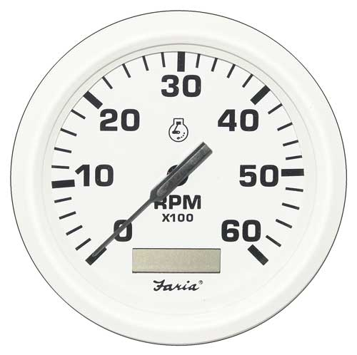 tachometer faria marine 6000 with hourmeter dress white tc9124 4 inch