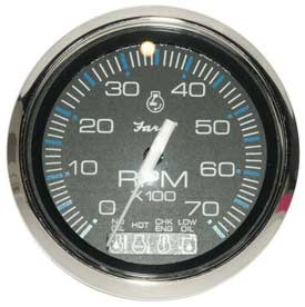 Tachometer, System Check 7K, Chesapeake Black Stainless Steel (TC9884) 4 Inch