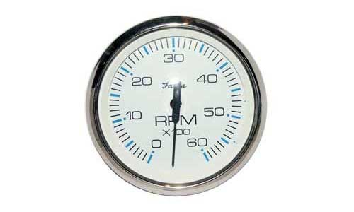 Tachometer 6K, Chesapeake White Stainless Steel (TC9796) 4 Inch