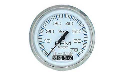 Tachometer , System Check 7K, Chesapeake White Stainless Steel (TC9881) 4 Inch