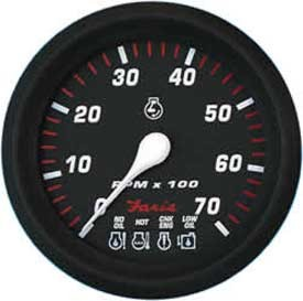 Tachometer, System Check 7K, Professional Red (TC9934) 4 Inch