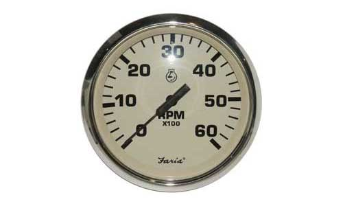 Tachometer 6000 RPM Faria Marine Euro Beige Stainless Steel TC9610 4 Inch