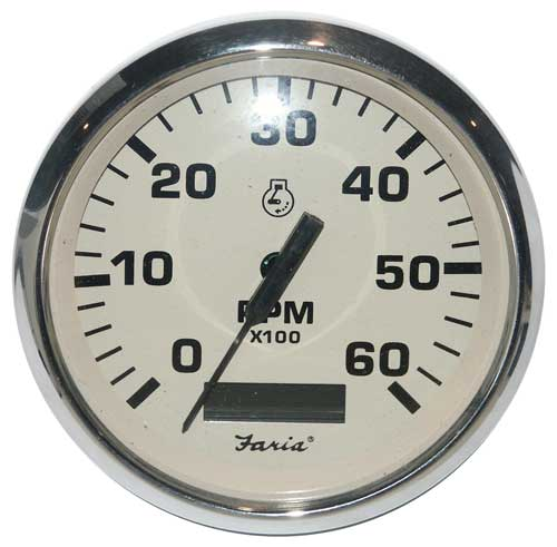 Tachometer 6000 with Hourmeter Euro Beige Stainless Steel TC9176 4 Inch