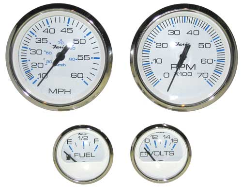 Gauge Set, Outboard, Chesapeake White Stainless Steel [FARKTF002] - $199 95  : Marine Engine Parts | Fishing Tackle | Basic Power , Nobody Beats Our