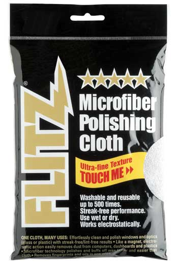"Polishing Cloth Microfiber Thick 'n Thirsty 16"" x 16"" Silver Flitz MC200"