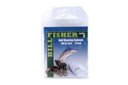 Billfisher BBS3-5PK Ball Brg Swivel Blk 2-Ring 100Lb 5Pk