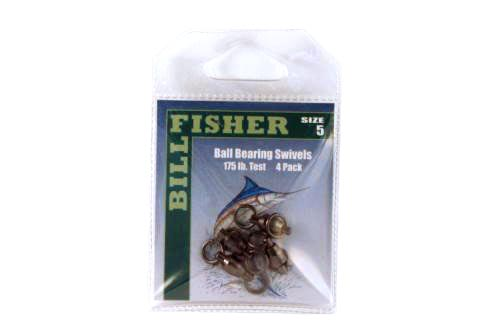 Billfisher BBS5-4Pk Ball Brg Swivel Blk 2-Ring 175Lb 4Pk