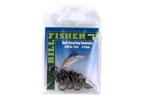 Billfisher BBS6-4Pk Ball Brg Swivel Blk 2-Ring 200Lb 4Pk