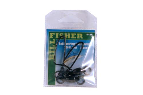 Billfisher BBSS7-2Pk BB Snap Swivel Blk 2-Ring 200Lb 2Pk