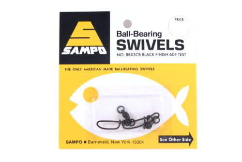 Sampo BRX3CB Dbl Ring Coastlock Snap Swivel Black 60Lb Bubble Cd/2Pk