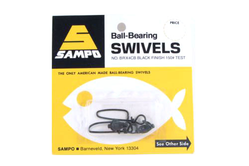 Sampo BRX4CB Dbl Ring Coastlock Snap Swivel Black 150Lb Bubble Cd/2Pk
