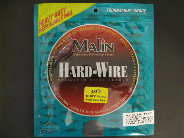 Malin Stainless Steel Leader #4 40 Lb Test LC4-14 SS Wire Coffee 2 Packages
