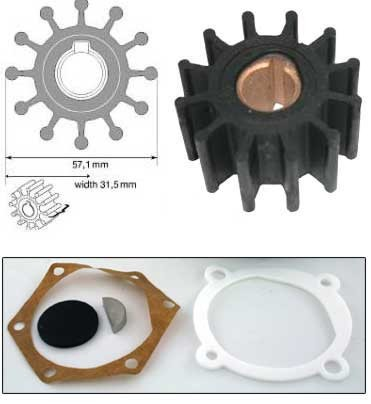 Impeller for Volvo Penta 4 Cylinder with Johnson 10-360988-3 875808-8 JOH09-801B
