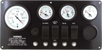 Marine Instrument Panel Inboard or Inboard Outboard with Ingnition Switch