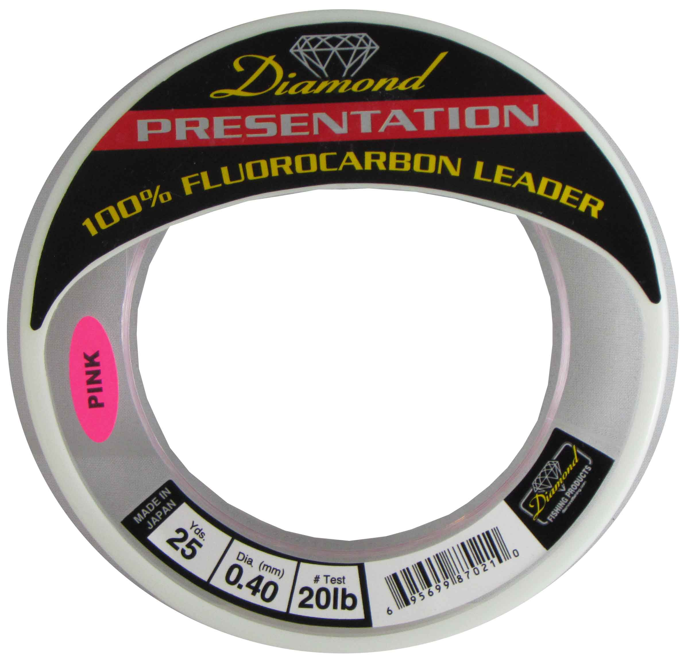 MOMOI Diamond Presentation Fluorocarbon Leader 20Lb Test 25Yds Pink