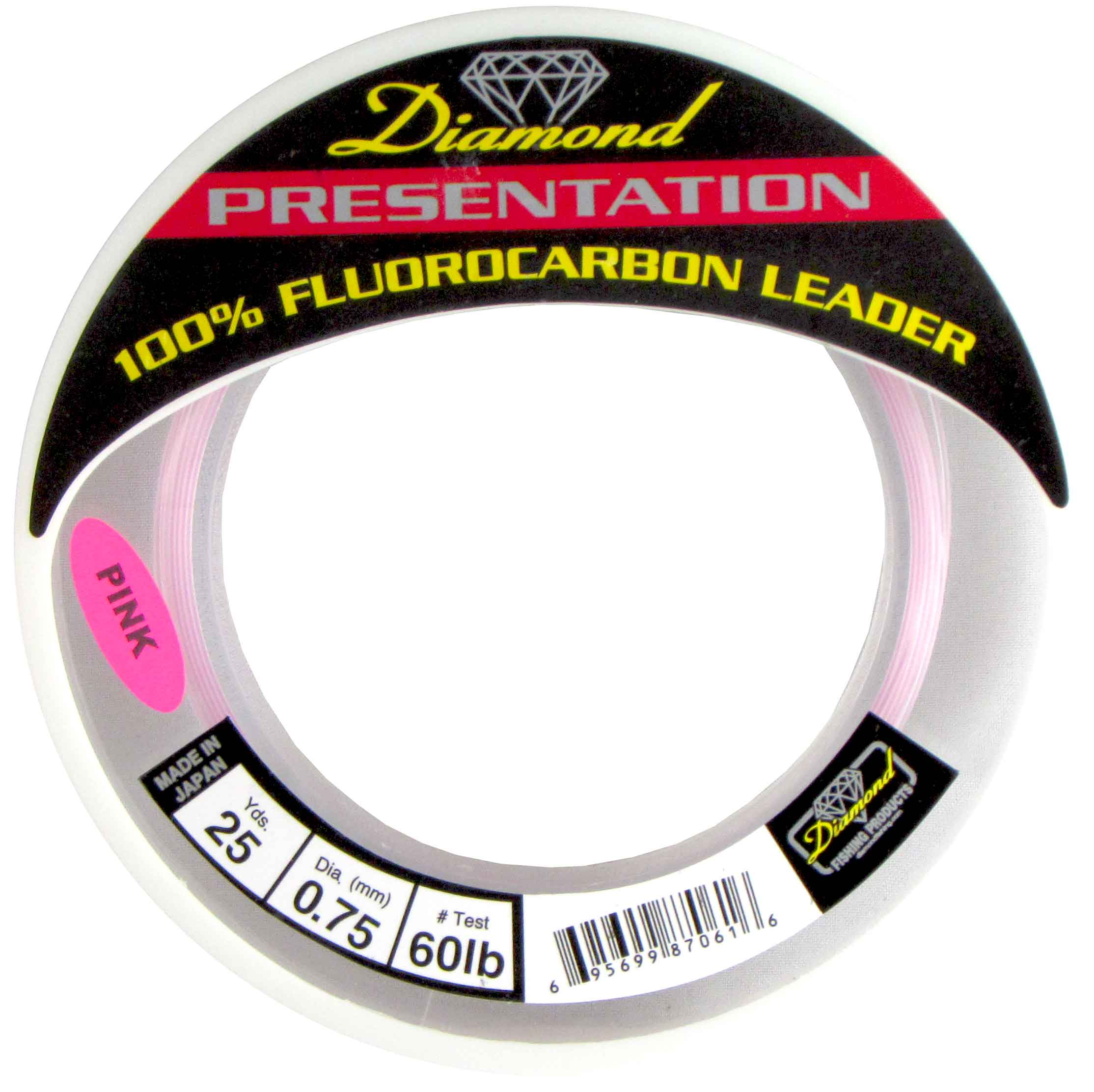 MOMOI Diamond Presentation Fluorocarbon Leader 60Lb Test 25Yds Pink