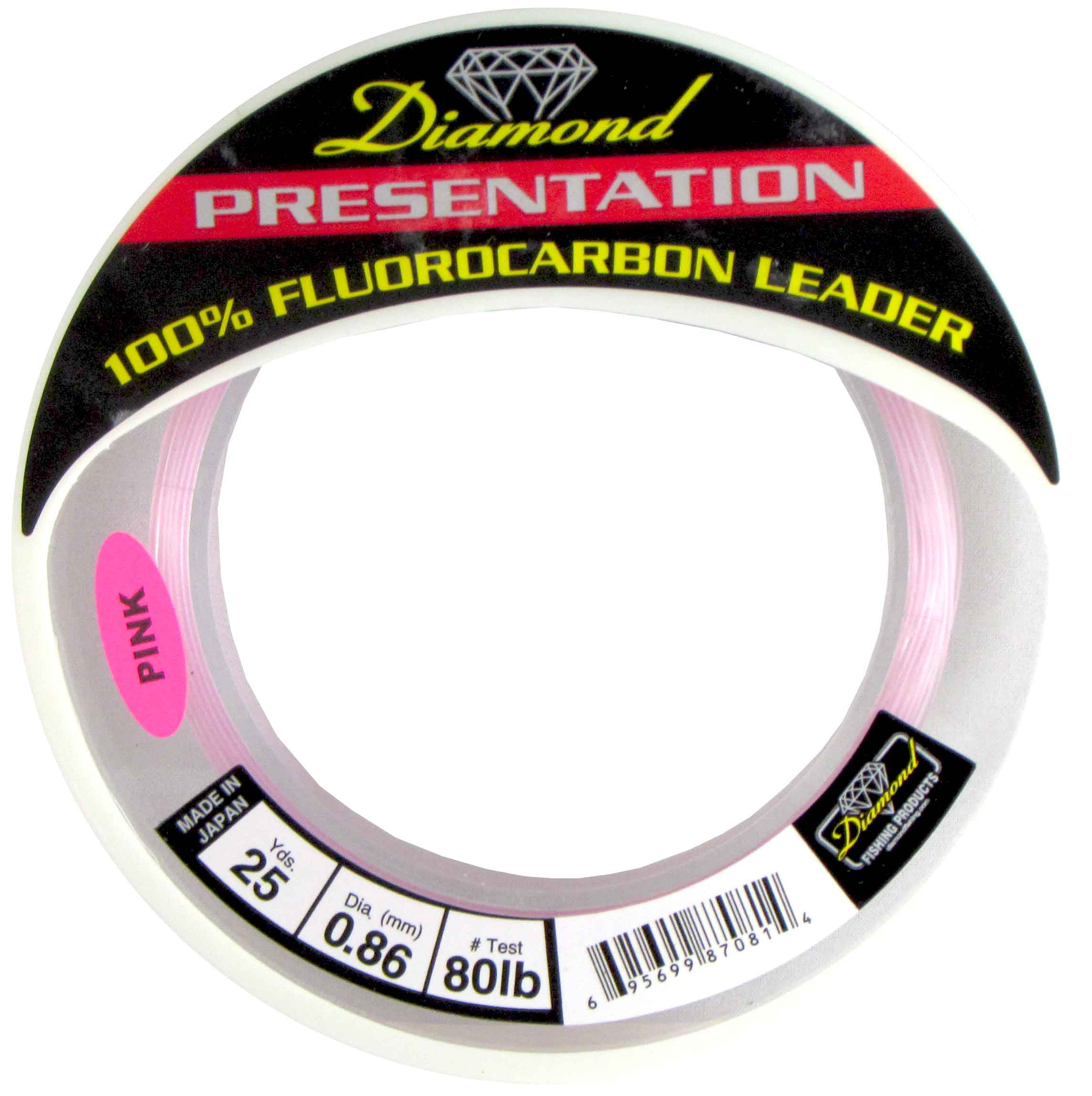 MOMOI Diamond Presentation Fluorocarbon Leader 80Lb Test 25Yds Pink