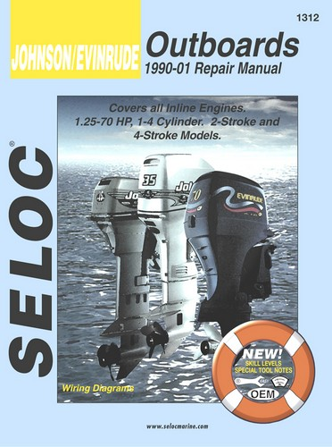 Manual Book Service Repair for Johnson Evinrude Outboard 1990-01 1 25-70 HP  [SEL1312] - $33 95 : Marine Engine Parts | Fishing Tackle | Basic Power ,