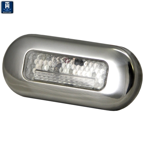 LED Marine Courtesy Accent Light Polished 316 Stainless Steel Blue