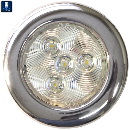 "LED Marine Puck Light 3"" Stainless Steel Surface Mount Blue"