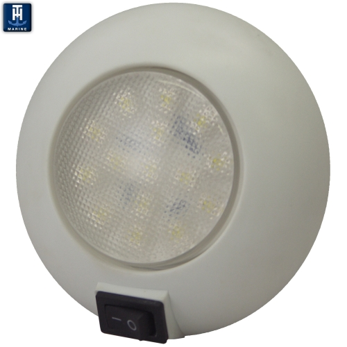 "LED Marine Dome Light 4"" Surface Mount With Switch Cool White"